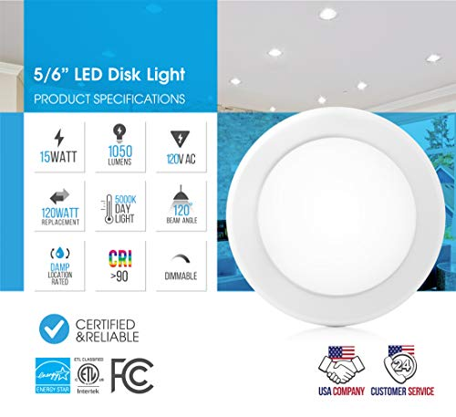 """Parmida (12 Pack) 5/6"""" Dimmable LED Disk Light Flush Mount Recessed Retrofit Ceiling Lights, 15W (120W Replacement), 5000K (Day Light), Energy Star, Installs into Junction Box Or Recessed Can, 1050lm by Parmida LED Technologies (Image #2)"""