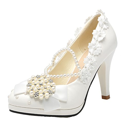 Getmorebeauty Women's With Pearls Across Ankle Top High Heel Wedding Shoes White uZSfE