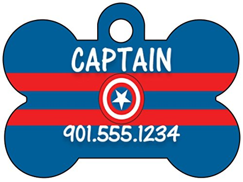 Captain America The Avengers Dog Tag Pet Id Tag Personalized w/ Name & Number (Captain America Dog)