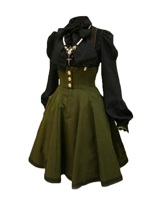 Vestido Medieval Sin Manga Mujer Noche Fiesta Traje Medieval Disfraz Largo Sin Camisa Verde S