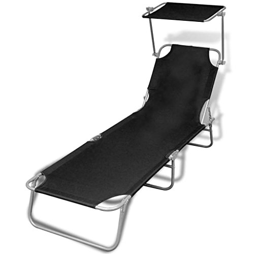 LicongUS Outdoor Sunlounger Foldable Chaise Lounge Chair with Canopy Black 74.4