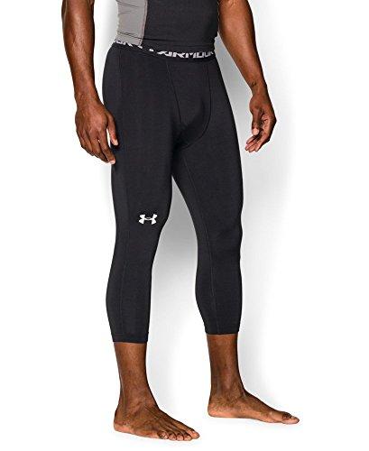 Under Armour Men's HeatGear Armour ¾ Compression Leggings, Black/Steel, X-Large