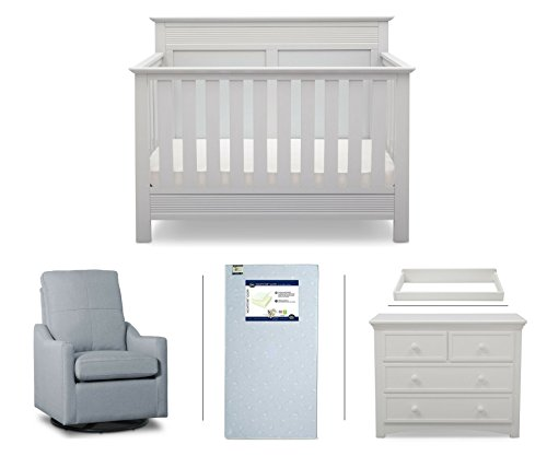 Serta Fall River 5-Piece Nursery Furniture Set (Serta Convertible Crib, 4-Drawer Dresser, Changing Top, Serta Crib Mattress, Glider), White/Light Blue