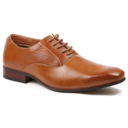 Ferro Aldo MFA-19503L Men's Brown Lace up Classic Oxford Dress Shoes Brown