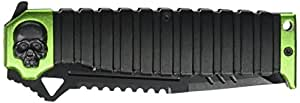 MTech USA MT-A820GN Ballistic Sping Assist Knife, Black Half-Serrated Blade, Black/Green Handle, 5-Inch Closed