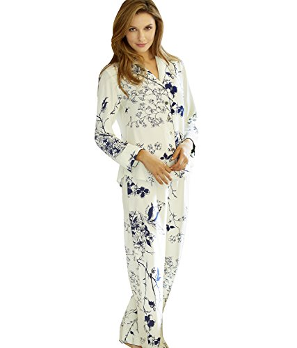 Julianna Rae Women's 100% Silk Print Pajamas, Natalya Collection, Midnight Floral (Print Pajama Silk)