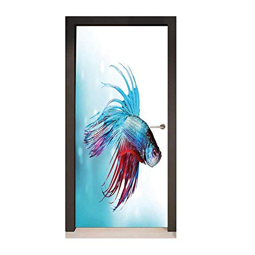 Homesonne Aquarium Door Decal Siamese Fighting Betta Fish Swimming in Aquarium Aggressive Sea Animal Art Door Decals Sky Blue Dark Coral,W17.1xH78.7 -