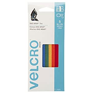 """VELCRO Brand - ONE-WRAP Cable Management, Self Gripping Cable Ties, Reusable, 8"""" x 1/2"""" Ties, 5 Ct. - Multi-color"""