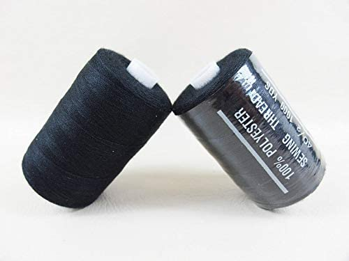 2 ovillos de hilo de coser 100/% poli/éster//1000 yd 120 negro. Ovinaht // Grosor