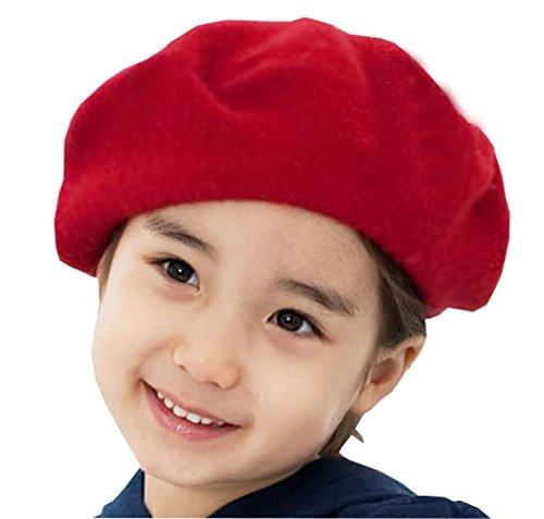 AWAYTR Children Wool French Beret Girl's Artist Hat Red -