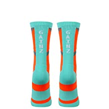 The Sox Box Gainz Crew Socks - Orange/Aqua - L/XL