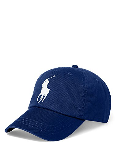 Polo Ralph Lauren Men`s Cotton Chino Baseball Cap With Adjustable Leather Strap (Holiday Navy (4004)/White, One Size)