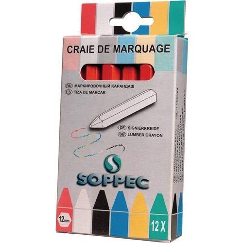 SOPPEC - Signalisation chantier - Boî te de 12 craies de marquage - ROUGE