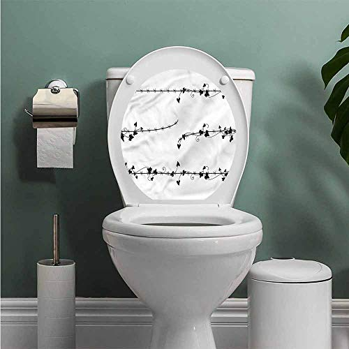 ThinkingPower Barbed Wire Toilet Seat Tattoo Cover Ivy Leaves on Border Vinyl Bathroom Decor W13XL16 INCH