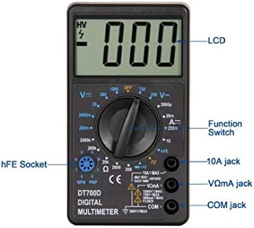 ZTBXQ Home Supplies Mini Large Screen Digital Multimeter Buzzer Overload Protection Square Wave Output Voltmeter Ampere Ohm Tester DT-700D