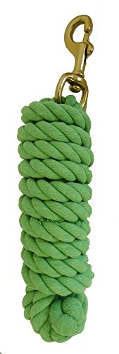AJ Tack Wholesale Horse Lead Rope Premium Cotton 10 Feet Brass Bolt Snap Lime Green