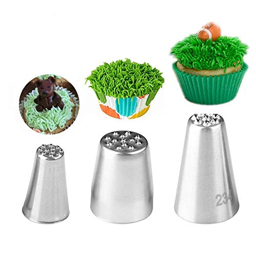 Piping Nozzles, 3pcs Grass Stainless Steel Icing Piping Nozzle Tips for Cake Fondant Cupcake