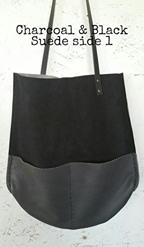 Handmade Leather Color Block Reversible Tote Shopper with pockets in Black suede, charcoal grey, and light grey