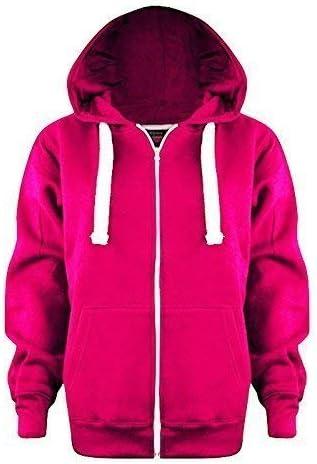 FASHIONCHIC Ladies Womens Plus Size Plain Zip Hoodie UK Size 8-28