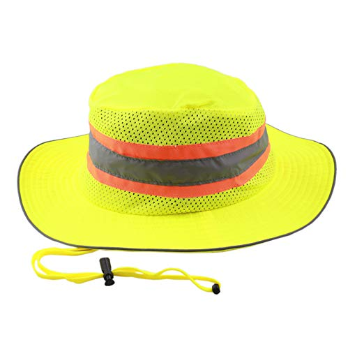 The Hat Depot 100% Cotton Stone-Washed Safari Wide Brim Foldable Double-Sided Sun Boonie Bucket Hat (One Size, Neon)
