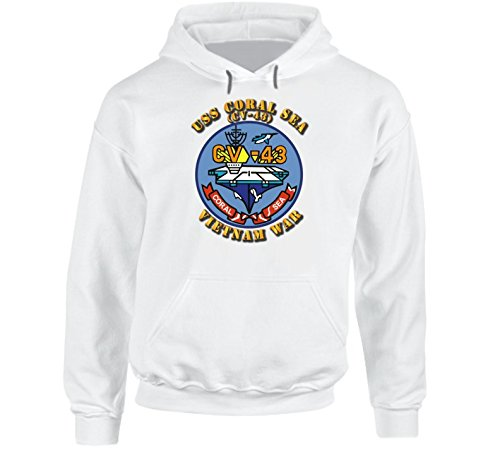 SMALL - Usn - Uss Coral Sea (cv-43) Vn W Txt Hoodie - White (Green Hoody White Text)