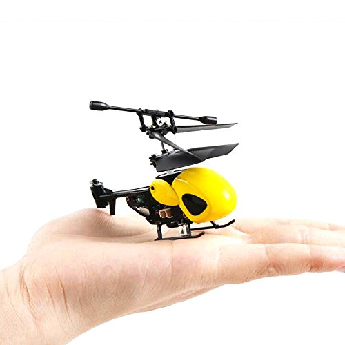 NiGHT LiONS TECH N5010 World's Smallest 3.5CH Remote Control RC Helicopter Miniature Indoor Flying LED Mini Infrared RC Helicopter Toy with Gyro RC Toy Aircraft for Kids (Yellow)