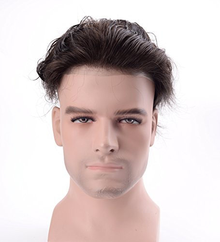 Lordhair Skin Men's Toupee Human Hair Pieces for Men Off Black Hair Replacement Color #1B (Hair System)