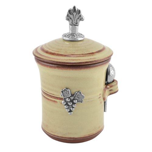 Oregon Stoneware Vineyard Salt Pot with Pewter Finial, Latte