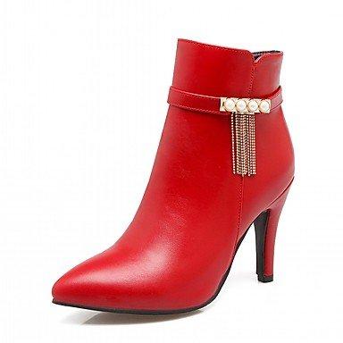 RTRY Zapatos De Mujer De Piel Sintética Pu Novedad Moda Otoño Invierno Confort Botas Botas Stiletto Talón Señaló Toe Botines/Botines De Imitación Perla US8 / EU39 / UK6 / CN39
