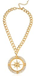 Goldtone Iced Out Compass Pendant with Cuban Chain Necklace