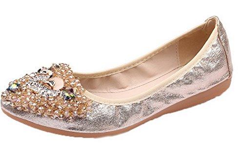 Zapatos Tacón Mujeres Cerrada Gold Tachonado Puntera Bajo De Aalardom xSYPvqw