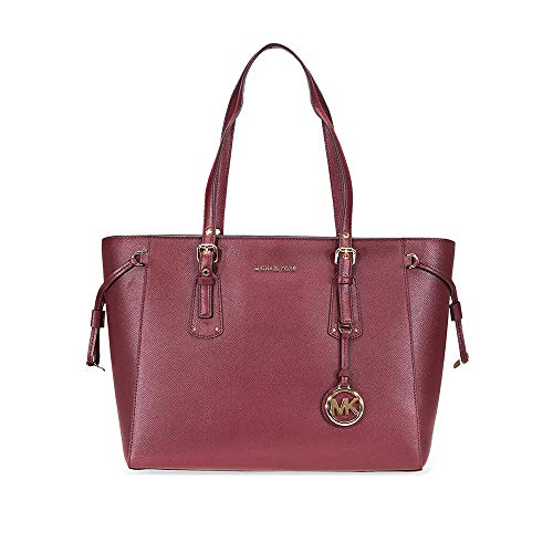 - Michael Kors Voyager Medium Textured Leather Tote- Oxblood