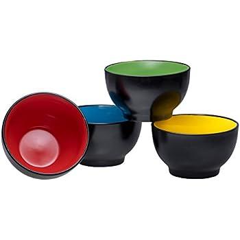 Bruntmor Ceramic Dessert Bowls Set - 20 Oz Durable Non-toxic Ceramic Bowls set of 4, Elegant Multi-colored Variation for Rice, Ice-cream, Salad, and Cereal
