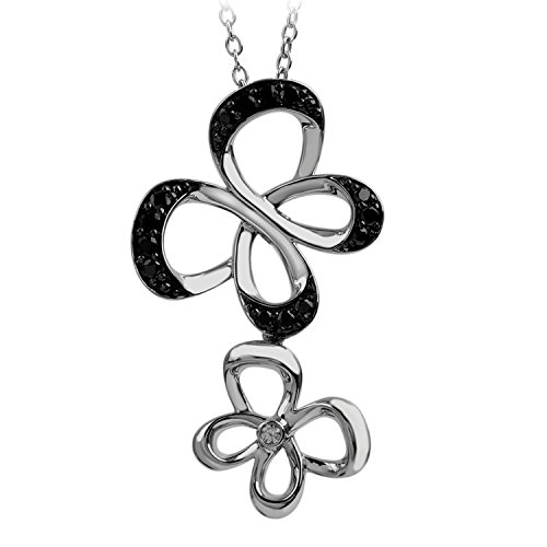 Jessica Simpson Butterfly Necklace (Sterling Silver 1/4cttw Jessica Simpson Black and White Diamond Double Butterfly Pendant)