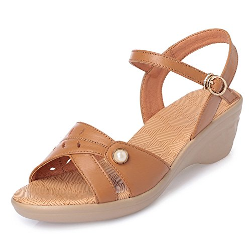 GTVERNH-Im Sommer Frauen - Sandalen Zehen Flach Abfallenden Boden Schuhe Mamas Mode Freizeit Dicken Hintern Mamas Schuhe Schuhe Apricot color ebefcf