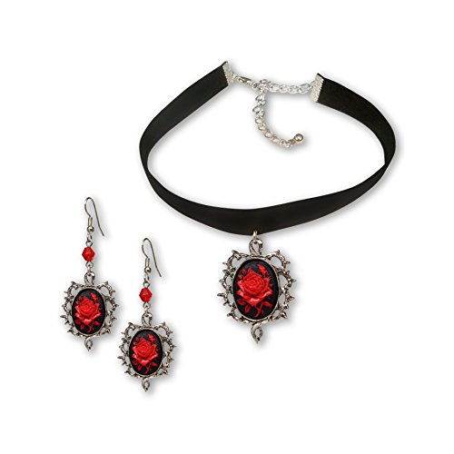 o Black Velvet Choker and Dangle Earrings Jewelry Set ()