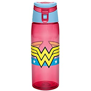 Zak! Designs Tritan Water Bottle with Flip-top Cap featuring Wonder Woman Graphics, Break-resistant and BPA-Free Plastic, 25 oz.
