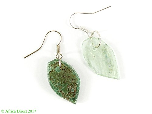Ancient Roman Glass Earrings Beads Green Bowl Fragments Afghanistan