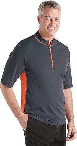 Coolibar UPF 50+ Men's Short Sleeve Quarter Zip Aqua Shirt (Small - Graphite)