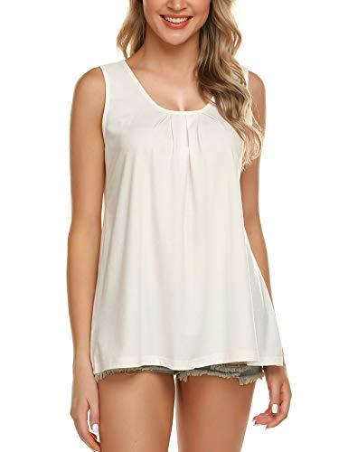 Zeagoo Women's V Neck Tank Tops Loose Casual Sleeveless Shirts Blouses White S