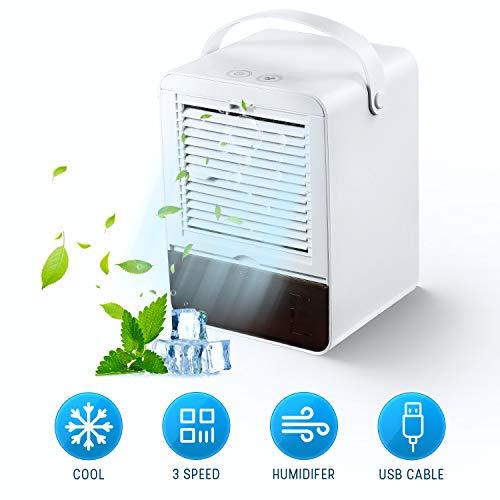 🥇 MXJFYY Acondicionador de Aire Portatil Enfriador de Aire Silencioso Air Cooler Humidificador con 3 Velocidades para Oficina en Casa