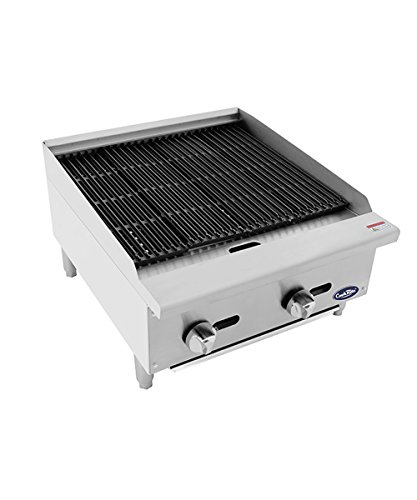 CookRite ATRC-24 Natural Gas Radiant Commercial Charbroiler Heavy Duty BBQ Grill Broiler - 70,000 BTU