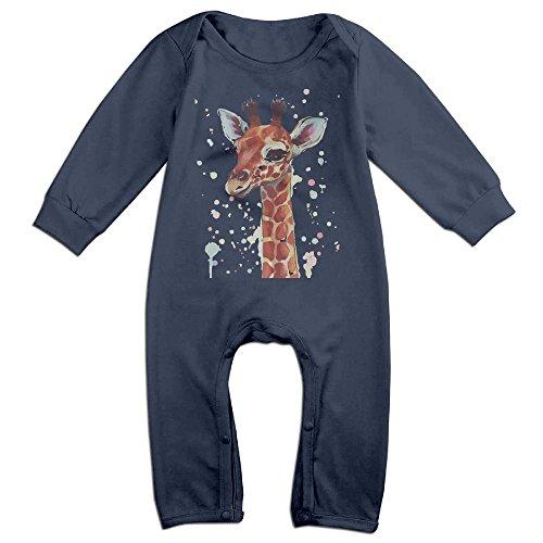 [ZhoYHHeng Watercolor Giraffe NewBorn Long Sleeve Romper Bodysuit Outfits Navy 6 M] (Soul Train Outfits)
