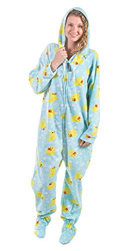 Forever Lazy Detachable Feet Adult Onesie - Rubber Ducky - XXL -