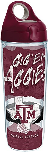 Water Texas Aggies A&m (Tervis 1251408 Texas A&M Aggies College Statement Insulated Tumbler with Wrap and Maroon Lid, 24oz Water Bottle, Clear)
