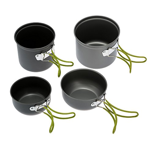Lixada Camping Cookware, Portable Cooking Set 2-3 People Anodised Aluminum Non-stick Pot Bowl for Outdoor Camping Hiking Picnic