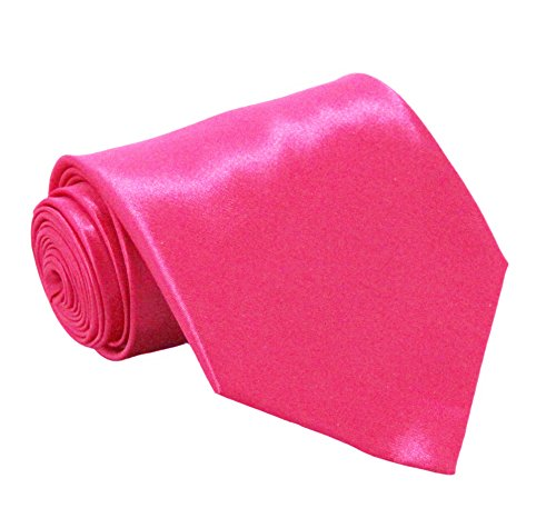 Soophen NEW Mens Necktie SOLID Satin Neck Tie Hot Pink