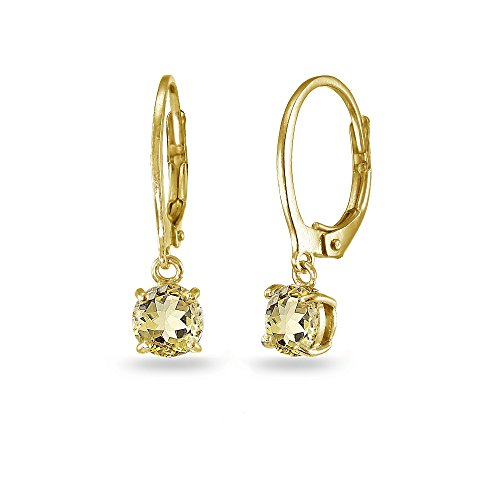 (LOVVE Yellow Gold Flashed Sterling Silver Citrine 6mm Round Dangle Leverback Earrings)