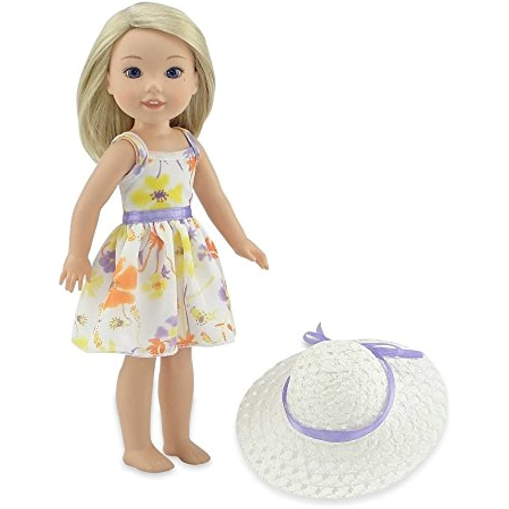 Beautiful Purple /& White Doll Dress with Flower Details for 18 Inch Doll