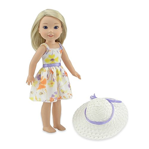 Emily Rose 14 Inch Doll Clothes | Chiffon Easter Doll Dress with White Hat | Fits 14 American Girl Wellie Wishers and Glitter Girls Dolls